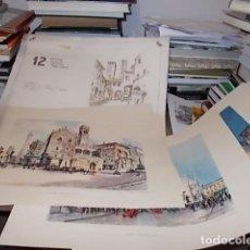 Arte: 8 ACUARELAS DE MARIO CARRARO DE LAS PLAZAS DE ITALIA. ITALIAN AIRLINES. INCLUYE CARPETA. UNA JOYA!!!. Lote 145157470