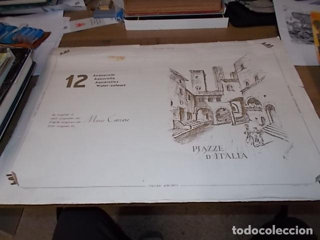 Arte: 8 ACUARELAS DE MARIO CARRARO DE LAS PLAZAS DE ITALIA. ITALIAN AIRLINES. INCLUYE CARPETA. UNA JOYA!!! - Foto 2 - 145157470