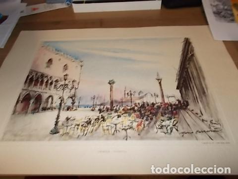 Arte: 8 ACUARELAS DE MARIO CARRARO DE LAS PLAZAS DE ITALIA. ITALIAN AIRLINES. INCLUYE CARPETA. UNA JOYA!!! - Foto 14 - 145157470
