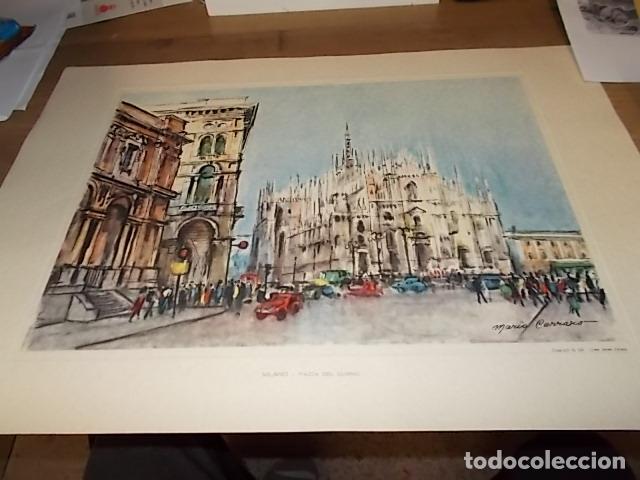 Arte: 8 ACUARELAS DE MARIO CARRARO DE LAS PLAZAS DE ITALIA. ITALIAN AIRLINES. INCLUYE CARPETA. UNA JOYA!!! - Foto 16 - 145157470