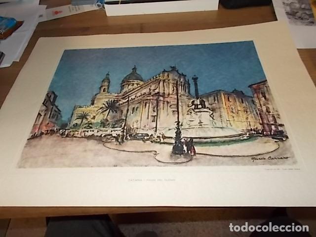 Arte: 8 ACUARELAS DE MARIO CARRARO DE LAS PLAZAS DE ITALIA. ITALIAN AIRLINES. INCLUYE CARPETA. UNA JOYA!!! - Foto 18 - 145157470