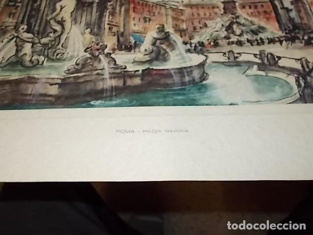 Arte: 8 ACUARELAS DE MARIO CARRARO DE LAS PLAZAS DE ITALIA. ITALIAN AIRLINES. INCLUYE CARPETA. UNA JOYA!!! - Foto 21 - 145157470