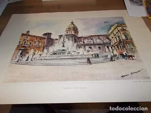 Arte: 8 ACUARELAS DE MARIO CARRARO DE LAS PLAZAS DE ITALIA. ITALIAN AIRLINES. INCLUYE CARPETA. UNA JOYA!!! - Foto 22 - 145157470