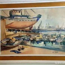 Arte: ACUARELA PUERTO DE VALENCIA. Lote 145279966