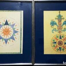Arte: DOS CUADROS CON ANTIGUAS ILUSTRACIONES EN ACUARELA - ESTRELLAS DE LOS VIENTOS - AÑOS 60 TAMAÑO 49X34. Lote 145300118
