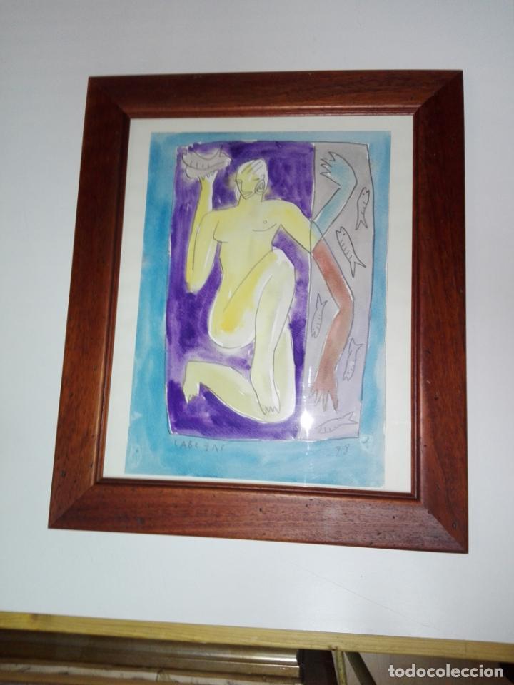 CUADRO-DIBUJO/ACUARELA-JORGE CABEZAS-99-PERFECTO ESTADO-VER FOTOS (Kunst - Aquarelle - Zeitgenössische 20. Jahrhundert)