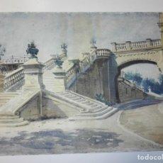 Arte: ACCESO AL VIADUCTO DEL PARQUE DE LA CIUTADELLA. BARCELONA 1908. ACUARELA ORIGINAL FIRMADA J.C.V.. Lote 145778530