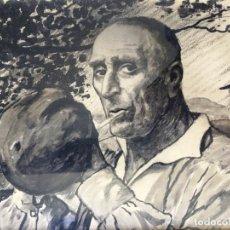 Arte: JULIÁN IBAÑEZ ALDECOA ARANO (1866-1952) ESPAÑOL TINTA/ACUARELA CARBONILLA CAMPESINO VASCO CIGARRILLO. Lote 145842998