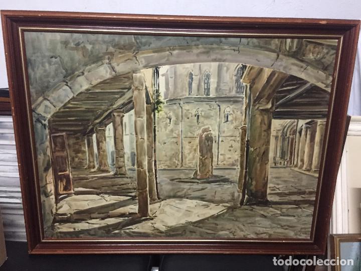 ACUARELA DE JOAN PELFORT DE IGUALADA. SANTA COLOMA DE QUERALT (Arte - Acuarelas - Contemporáneas siglo XX)