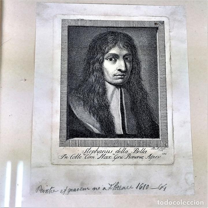 Arte: RETRATO DE STEFFANO DELLA BELLA. GRABADO. GRABADO POR D.A. ITALIA (?). 1788 - Foto 3 - 146397274