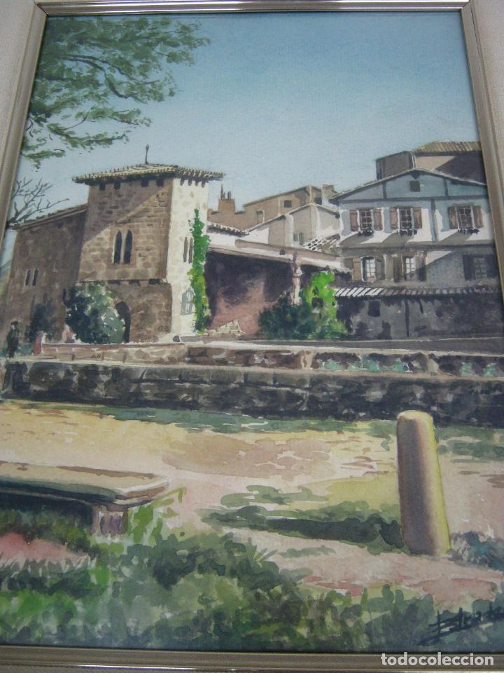 INTERESANTE PINTURA ACUARELA FIRMADA - PAISAJE URBANO (Arte - Acuarelas - Contemporáneas siglo XX)