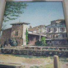 Arte: INTERESANTE PINTURA ACUARELA FIRMADA - PAISAJE URBANO. Lote 146432494