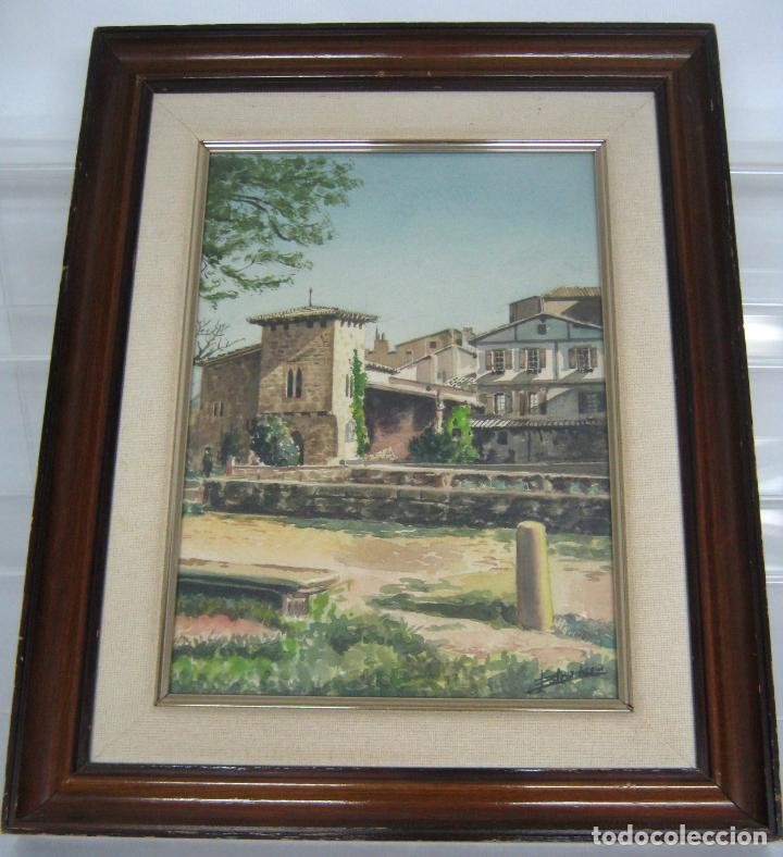 Arte: Interesante pintura acuarela firmada - paisaje urbano - Foto 2 - 146432494