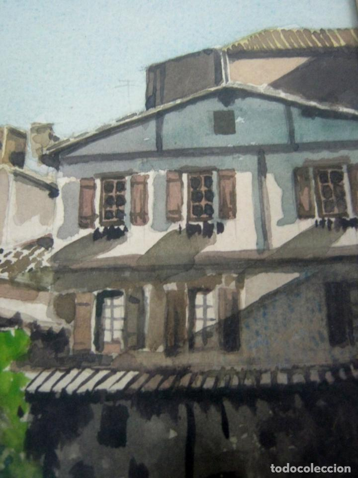 Arte: Interesante pintura acuarela firmada - paisaje urbano - Foto 3 - 146432494