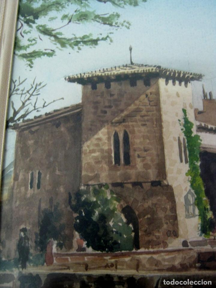 Arte: Interesante pintura acuarela firmada - paisaje urbano - Foto 4 - 146432494