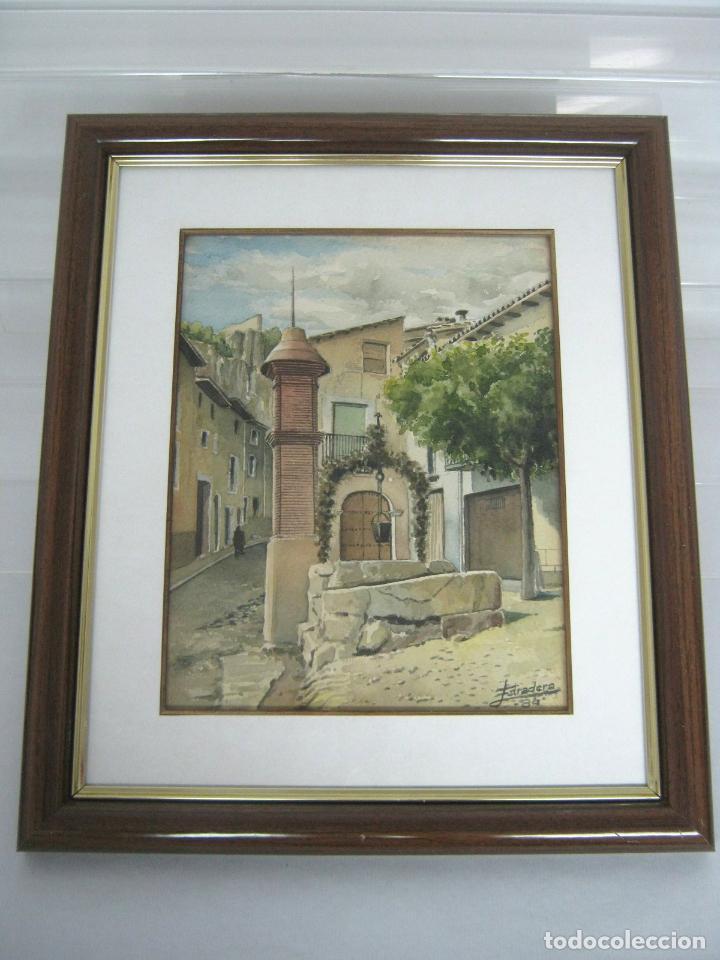 1984 INTERESNATE ACUARELA FIRMADA - PLAZA DE PUEBLO CON POZO Y MONOLITO (Arte - Acuarelas - Contemporáneas siglo XX)