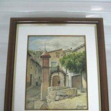Arte: 1984 INTERESNATE ACUARELA FIRMADA - PLAZA DE PUEBLO CON POZO Y MONOLITO. Lote 146438166