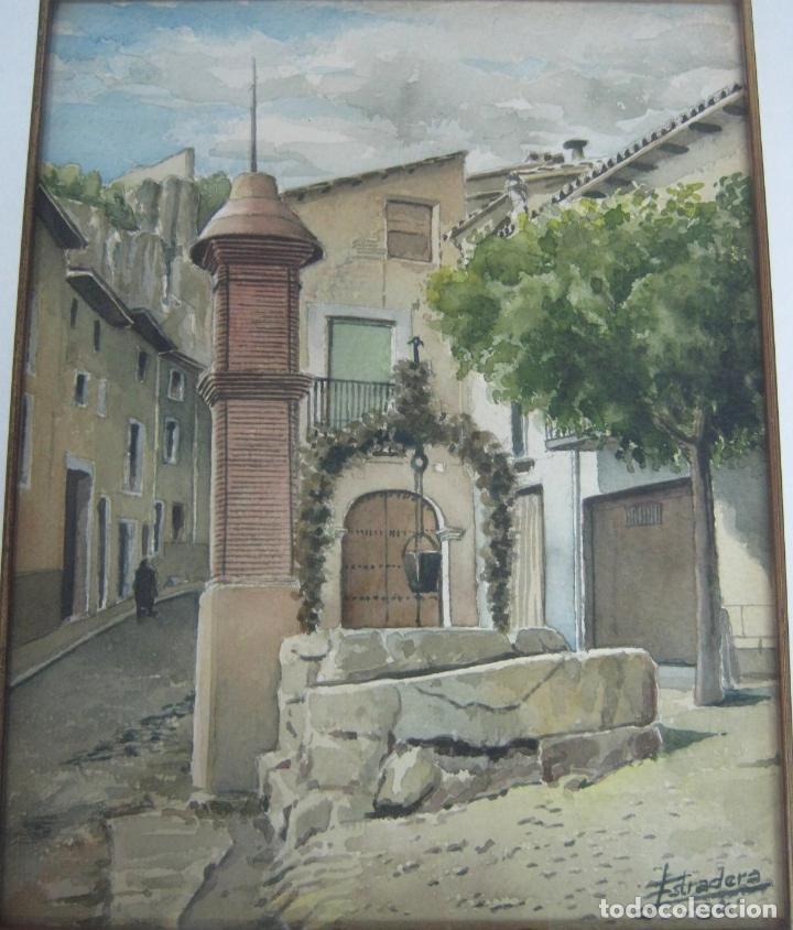 Arte: 1984 Interesnate Acuarela firmada - Plaza de pueblo con pozo y monolito - Foto 2 - 146438166