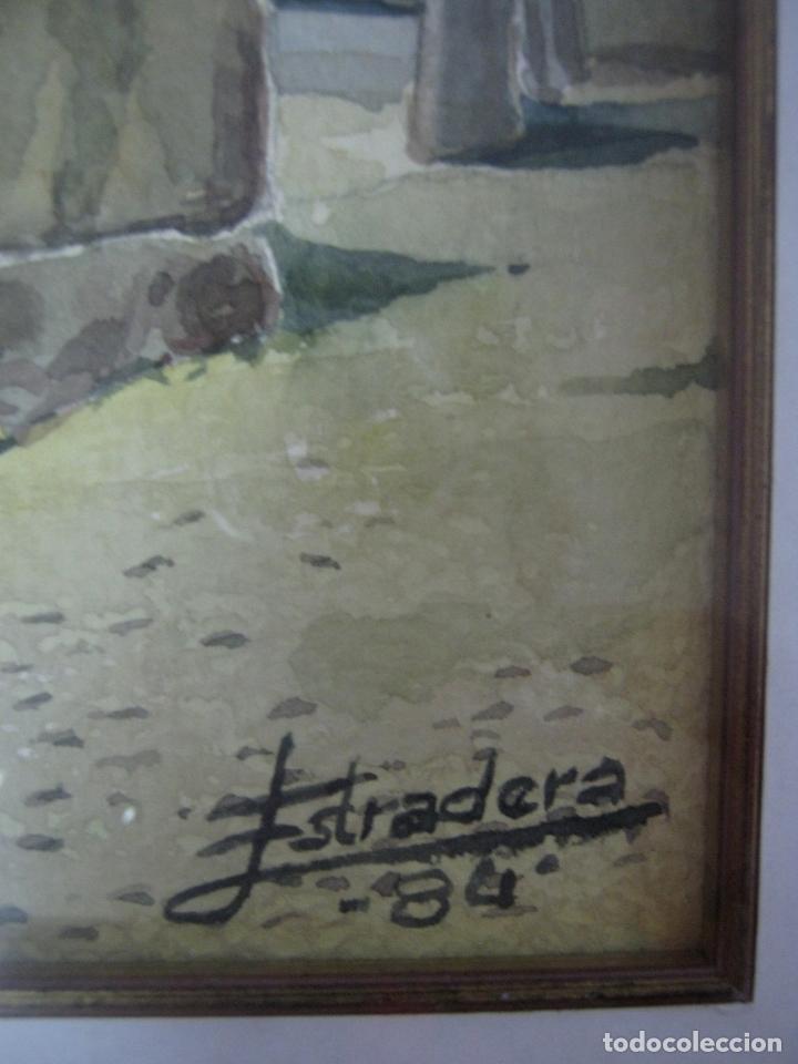 Arte: 1984 Interesnate Acuarela firmada - Plaza de pueblo con pozo y monolito - Foto 3 - 146438166