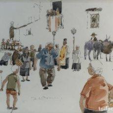 Kunst - Pedro Soler Valero Acuarela y tinta sobre papel Procesión firmado y fechado 1973 - 146545318