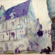 Arte: JOAN MORALES (1890 - ??) ACUARELA SOBRE PAPEL FECHADA DEL AÑO 1912. VISTA DE ROUAN. Lote 146609170