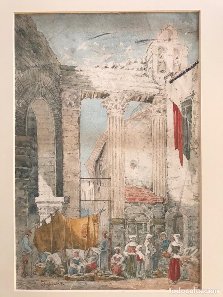 ACUARELA ANTIGUA FIRMADA (Arte - Acuarelas - Antiguas hasta el siglo XVIII)