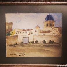 Arte: ACUARELA SOBRE CARTON AÑOS 40, FIRMADA Y FECHADA, VISTA DE PUEBLO. 37X28CM. Lote 146928654