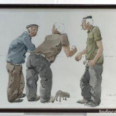 Kunst - Pedro Soler Valero Acuarela y tinta sobre papel Escena personajes fumando firmado y fechado 1973 - 146928914