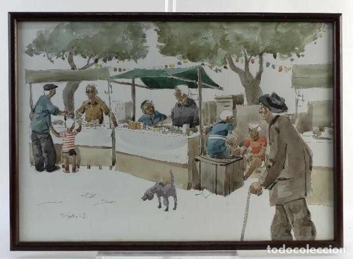 PEDRO SOLER VALERO ACUARELA Y TINTA SOBRE PAPEL ESCENA MERCADO FIRMADO Y FECHADO 1973 (Arte - Acuarelas - Contemporáneas siglo XX)