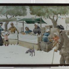 Kunst - Pedro Soler Valero Acuarela y tinta sobre papel Escena mercado firmado y fechado 1973 - 146928926
