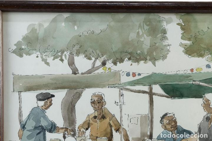 Arte: Pedro Soler Valero Acuarela y tinta sobre papel Escena mercado firmado y fechado 1973 - Foto 2 - 146928926