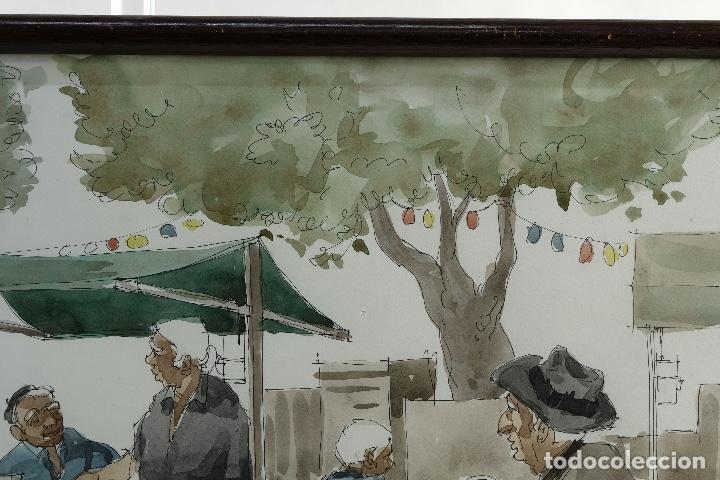 Arte: Pedro Soler Valero Acuarela y tinta sobre papel Escena mercado firmado y fechado 1973 - Foto 3 - 146928926