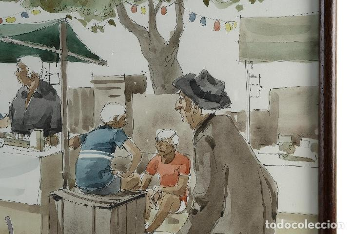 Arte: Pedro Soler Valero Acuarela y tinta sobre papel Escena mercado firmado y fechado 1973 - Foto 4 - 146928926