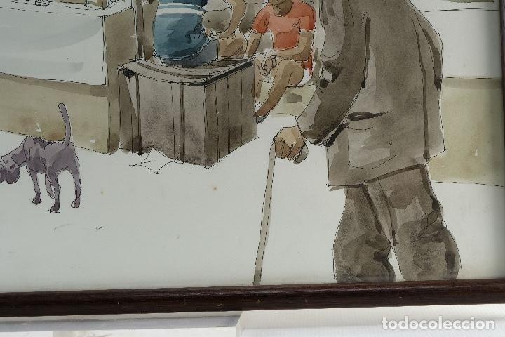 Arte: Pedro Soler Valero Acuarela y tinta sobre papel Escena mercado firmado y fechado 1973 - Foto 5 - 146928926