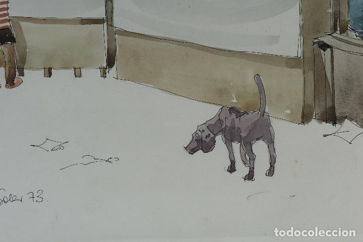 Arte: Pedro Soler Valero Acuarela y tinta sobre papel Escena mercado firmado y fechado 1973 - Foto 6 - 146928926