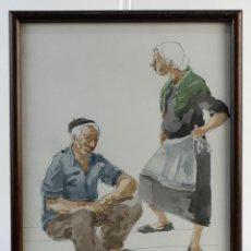 Kunst - Pedro Soler Valero Acuarela y tinta sobre papel Escena anciano y anciana firmado y fechado 1973 - 146928950