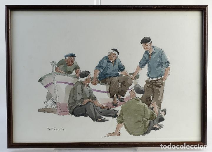 PEDRO SOLER VALERO ACUARELA Y TINTA SOBRE PAPEL ESCENA PERSONAJES EN BARCA 1973 (Arte - Acuarelas - Contemporáneas siglo XX)