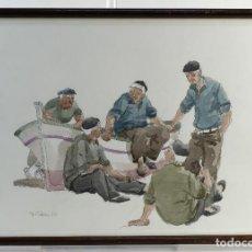 Arte - Pedro Soler Valero Acuarela y tinta sobre papel Escena personajes en barca 1973 - 146928970