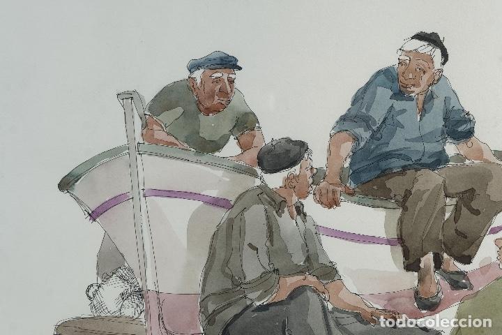 Arte: Pedro Soler Valero Acuarela y tinta sobre papel Escena personajes en barca 1973 - Foto 2 - 146928970