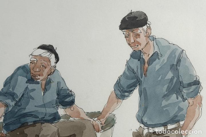 Arte: Pedro Soler Valero Acuarela y tinta sobre papel Escena personajes en barca 1973 - Foto 3 - 146928970