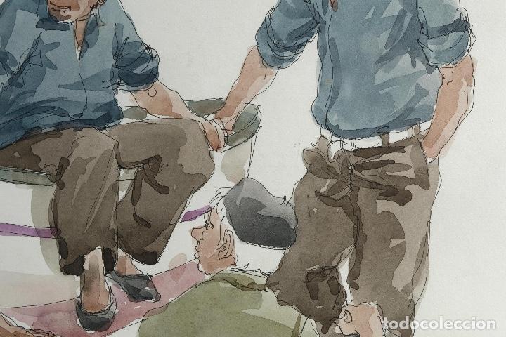 Arte: Pedro Soler Valero Acuarela y tinta sobre papel Escena personajes en barca 1973 - Foto 4 - 146928970