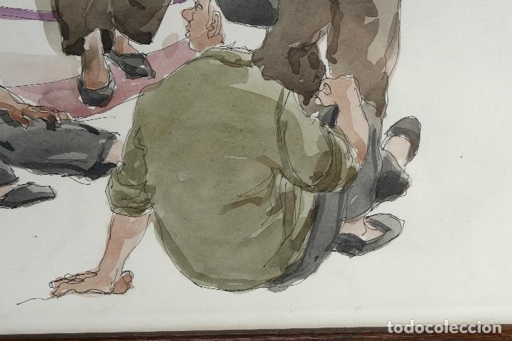 Arte: Pedro Soler Valero Acuarela y tinta sobre papel Escena personajes en barca 1973 - Foto 5 - 146928970