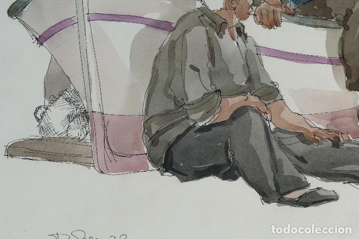 Arte: Pedro Soler Valero Acuarela y tinta sobre papel Escena personajes en barca 1973 - Foto 6 - 146928970