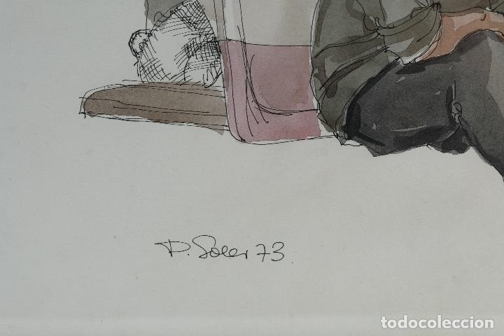 Arte: Pedro Soler Valero Acuarela y tinta sobre papel Escena personajes en barca 1973 - Foto 7 - 146928970