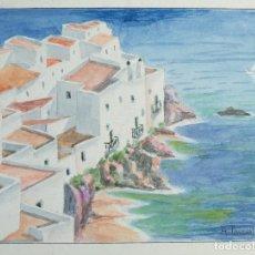 Arte: ANTONI PASCUAL TOLOSA ACUARELA Y GOUACHE SOBRE PAPEL PAISAJE IBIZA FIRMADA TERCER TERCIO SIGLO XX. Lote 146931786