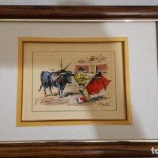 Arte: TAURINO - ENRIQUE PASTOR - ACUARELA Y TINTA SOBRE PAPEL - 18 X 14 CM -ENMARCADO. Lote 147082074