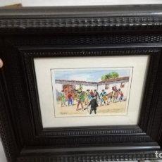 Arte: TAURINO - ENRIQUE PASTOR - ACUARELA Y TINTA SOBRE PAPEL - 14X 11 CM -ENMARCADO. Lote 147082250