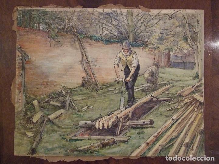 WILLIAM HENRY - ACUARELA SOBRE CARTON - TEMATICA COSTUMBRISTA - EL ASERRADERO (Arte - Acuarelas - Modernas siglo XIX)