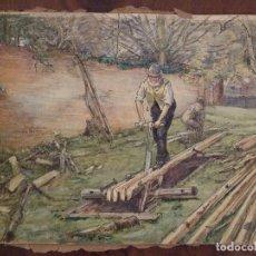 Arte: WILLIAM HENRY - ACUARELA SOBRE CARTON - TEMATICA COSTUMBRISTA - EL ASERRADERO. Lote 147082354