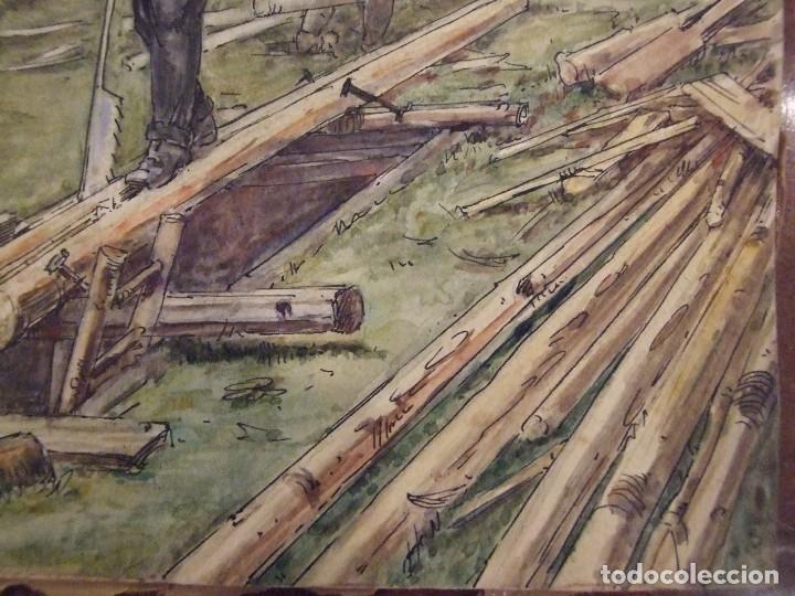 Arte: WILLIAM HENRY - ACUARELA SOBRE CARTON - TEMATICA COSTUMBRISTA - EL ASERRADERO - Foto 4 - 147082354